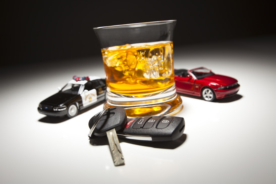 Alcoholic Drink with Car and Police Car