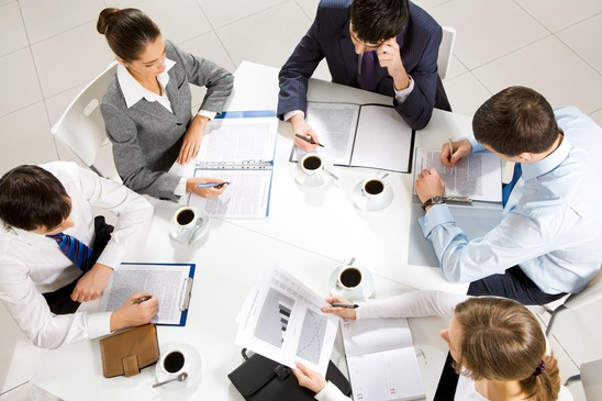 Group Meeting around table