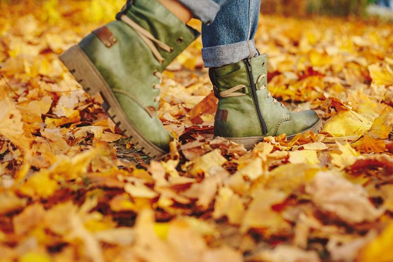 Leather Shoes Walking On Fall Leaves