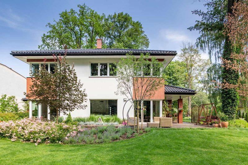 Home with beautiful backyard