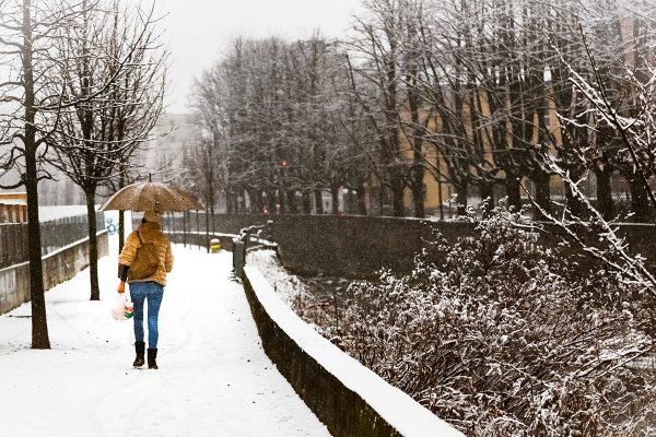 Woman With Umbrella Walking In Snow