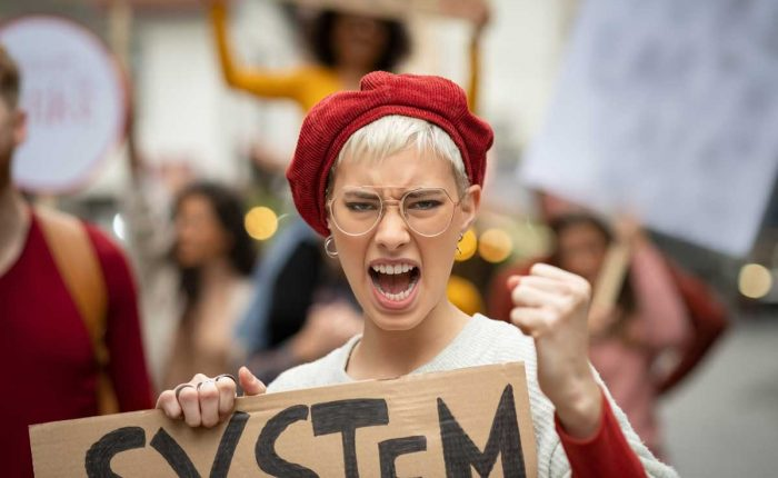 Angry Woman In Protest March For Her Rights